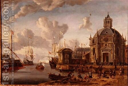 A capriccio Mediterranean harbour with a galley at anchor by Abraham Storck - Reproduction Oil Painting