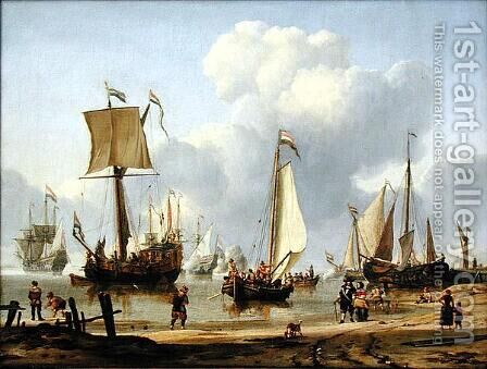 Ships in Calm Water, 1672 by Abraham Storck - Reproduction Oil Painting