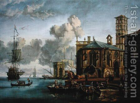 Capriccio of a Mediterranean Port by Abraham Storck - Reproduction Oil Painting