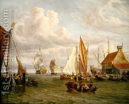 Dutch Men of War and Fishing Boats in a Port by Abraham Storck - Reproduction Oil Painting
