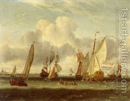 The IJ at Amsterdam Harbour by Abraham Storck - Reproduction Oil Painting