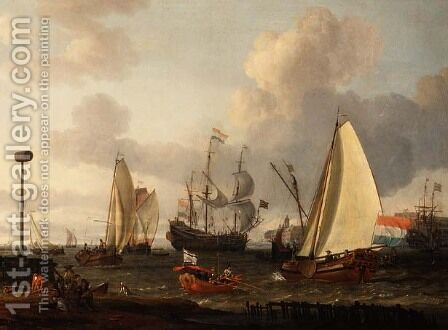 Dutch men-of-war off the coast by Abraham Storck - Reproduction Oil Painting