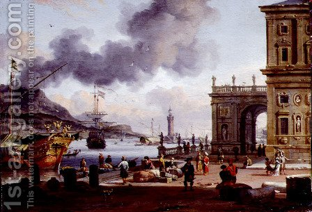A Mediterranean Harbour Scene by Abraham Storck - Reproduction Oil Painting