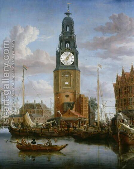 View of the Haringspacker Tower in Amsterdam, with a working clock-face set into the painting, 1684 by Abraham Storck - Reproduction Oil Painting