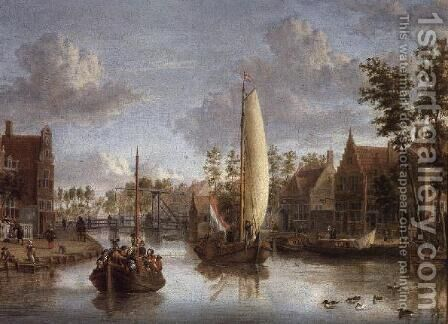 A Canal with barges by Jacobus Storck - Reproduction Oil Painting