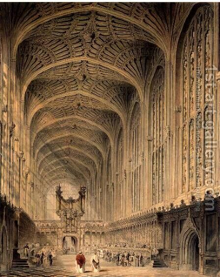 The interior of Kings College Chapel, Cambridge, c.1815 by Henry Sargent Storer - Reproduction Oil Painting