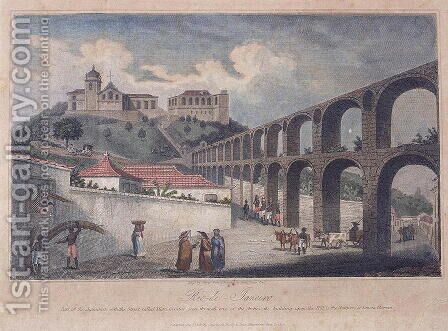 Part of the Aqueduct, with the street called Mata Cavalos, Rio de Janeiro, 1820 by James Storer - Reproduction Oil Painting