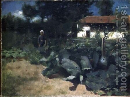 A French Kitchen Garden, 1883 by Edward Stott - Reproduction Oil Painting