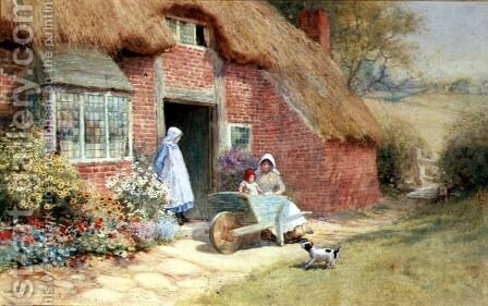 Playing in a Wheelbarrow by Arthur Claude Strachan - Reproduction Oil Painting
