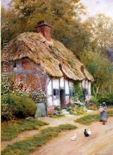A Young Girl and Ducks by a Thatched Cottage by Arthur Claude Strachan - Reproduction Oil Painting