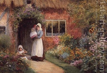 Mother and Children Outside a Cottage by Arthur Claude Strachan - Reproduction Oil Painting
