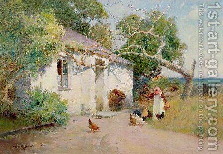 Feeding the Hens, 1894 by Arthur Claude Strachan - Reproduction Oil Painting