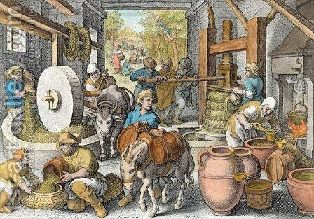 The Production of Olive Oil, plate 13 from Nova Reperta New Discoveries engraved by Philip Galle 1537-1612 c.1600 by (after) Straet, Jan van der (Giovanni Stradano) - Reproduction Oil Painting