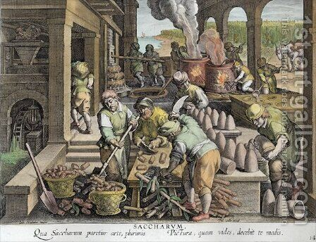 A Sugar Mill and the Production of Sugar Loaves, plate 14 from Nova Reperta New Discoveries engraved by Philip Galle 1537-1612 c.1600 2 by (after) Straet, Jan van der (Giovanni Stradano) - Reproduction Oil Painting