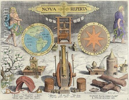 Frontispiece to Nova Reperta New Discoveries engraved by Theodor Galle 1571-1633 c.1600 by (after) Straet, Jan van der (Giovanni Stradano) - Reproduction Oil Painting