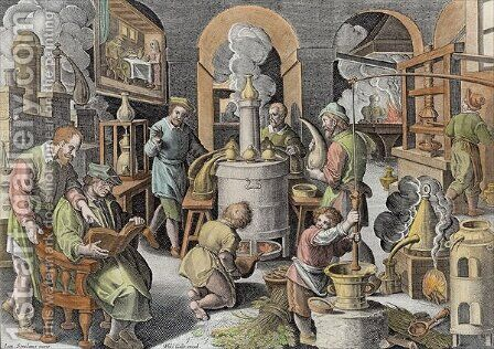 Distillation, boiling water to purify it, engraved by Philip Galle 1537-1612 by (after) Straet, Jan van der (Giovanni Stradano) - Reproduction Oil Painting