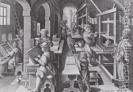 The Development of Printing, plate 5 from Nova Reperta New Discoveries engraved by Philip Galle 1537-1612 c.1600 by (after) Straet, Jan van der (Giovanni Stradano) - Reproduction Oil Painting