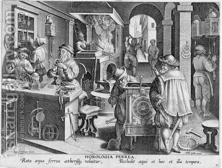The Invention of Iron Mechanical Clocks, plate 6 from Nova Reperta New Discoveries engraved by Philip Galle 1537-1612 c.1600 by (after) Straet, Jan van der (Giovanni Stradano) - Reproduction Oil Painting