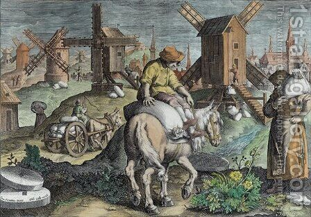Windmills, plate 12 from Nova Reperta New Discoveries engraved by Philip Galle 1537-1612 c.1600 2 by (after) Straet, Jan van der (Giovanni Stradano) - Reproduction Oil Painting
