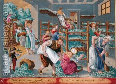 Women Lining Shelves with Mulberry Leaves for the Silkworms, plate 5 from Vermis Sericus The Silkworm engraved by Philip Galle 1537-1612 by (after) Straet, Jan van der (Giovanni Stradano) - Reproduction Oil Painting