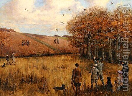 Pheasant Shooting by Christopher William Strange - Reproduction Oil Painting