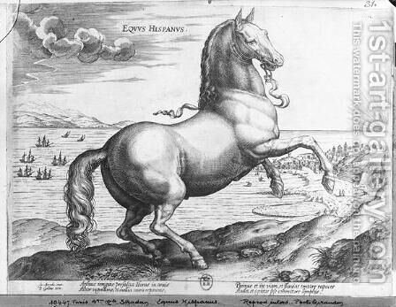 Equus Germanus by Jan van der (Joannes Stradanus) Straet - Reproduction Oil Painting
