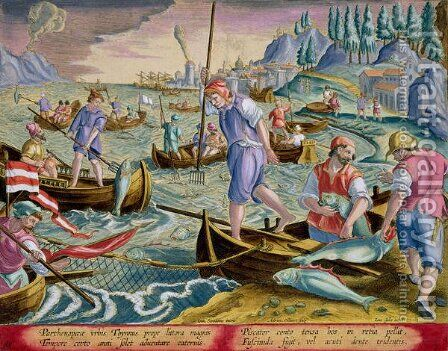 Fishing with Nets and Tridents in the Bay of Naples, plate 89 from 'Venationes Ferarum, Avium, Piscium Of Hunting Wild Beasts, Birds, Fish engraved by Jan Collaert 1566-1628 published by Phillipus Gallaeus of Amsterdam by Jan van der (Joannes Stradanus) Straet - Reproduction Oil Painting