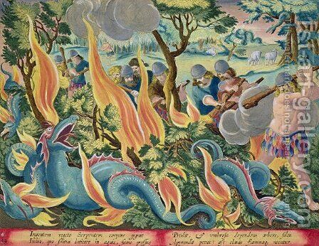 Catching Serpents in India Using Clubs and Torches to Light the Undergrowth, plate 44 from Venationes Ferarum, Avium, Piscium Of Hunting Wild Beasts, Birds, Fish engraved by Jan Collaert 1566-1628 published by Phillipus Gallaeus of Amsterdam by Jan van der (Joannes Stradanus) Straet - Reproduction Oil Painting