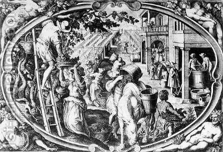 The Wine Harvest, Allegory of Autumn, engraved by Philip Galle by Jan van der (Joannes Stradanus) Straet - Reproduction Oil Painting