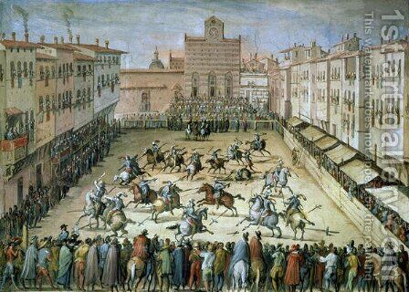 The Joust in the Piazza Santa Croce, Florence, 1555 by Jan van der (Joannes Stradanus) Straet - Reproduction Oil Painting