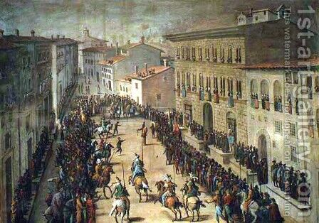 The Saracen Joust in Via Larga, Florence, 1555 by Jan van der (Joannes Stradanus) Straet - Reproduction Oil Painting