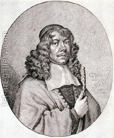 Portrait of Gabriel Schutz 1585-1672 engraved by Johann Friedrich Leonart 1633-80 1668 by (after) Strauch, Georg - Reproduction Oil Painting