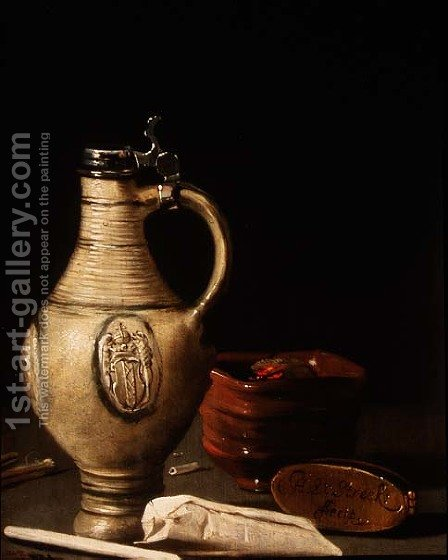 Still life with an Amsterdam earthenware ewer, bowl of charcoal and tobacco pouch by Hendrick van Streeck - Reproduction Oil Painting