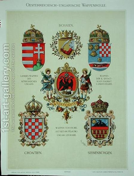 Coats of arms from the Austro-Hungarian Empire, from Heraldischer Atlas by the artist, 1899 by (after) Strohl, Hugo Gerard - Reproduction Oil Painting