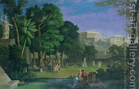 The Philosophers Garden, Athens, 1834 by Antal Strohmayer - Reproduction Oil Painting