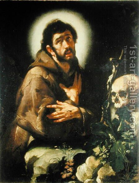 St Francis in Ecstasy, c.1615-18 by Bernardo Strozzi - Reproduction Oil Painting