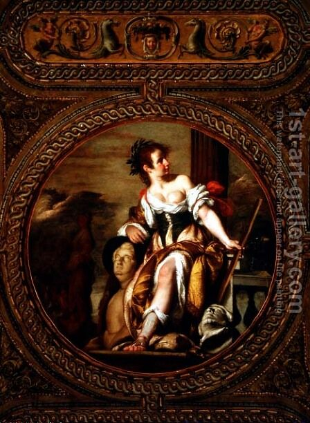 Allegory of Sculpture, from the ceiling of the library, 1635 by Bernardo Strozzi - Reproduction Oil Painting