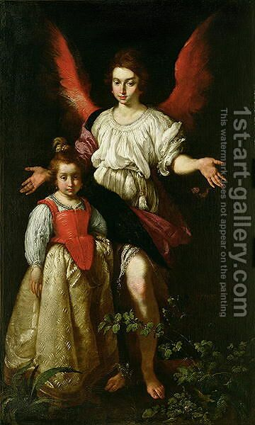 The Guardian Angel, c.1630 by Bernardo Strozzi - Reproduction Oil Painting