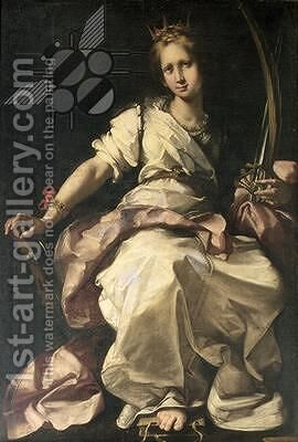 St. Catherine of Alexandria by Bernardo Strozzi - Reproduction Oil Painting