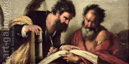 Saints John the Evangelist and Mark discussing their Writings by Bernardo Strozzi - Reproduction Oil Painting