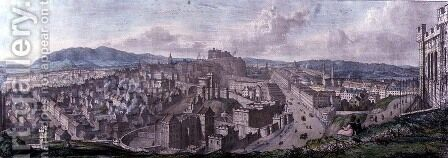 View from the Top of the Calton Hill by Nelsons Monument Looking West, engraved by William Westall 1781-1850 and printed by Charles Joseph Hullmandel 1789-1850 1828 by (after) Stuart, Mary - Reproduction Oil Painting