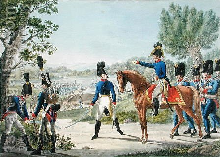 The new Imperial Royal Austrian Pontonniers after the Napoleonic Wars, c.1820 by (after) Stubenrauch, Phillip von - Reproduction Oil Painting