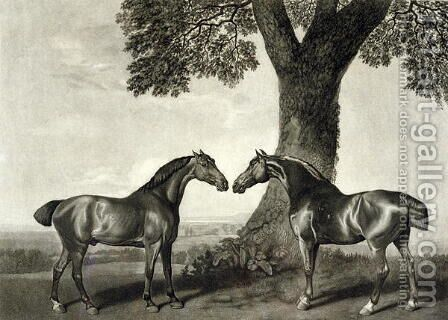 Two Hunters, engraved by G.T. Stubbs bap.1748-c.1815 by (after) Stubbs, George - Reproduction Oil Painting