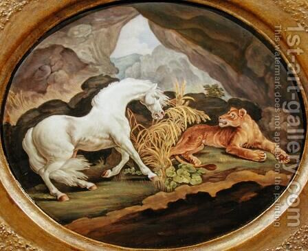 A Horse Frightened by a Lioness after George Stubbs 1724-1806 by (after) Stubbs, George - Reproduction Oil Painting