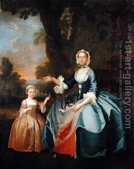 Portrait of Mrs Dawson of Retford and her Daughter, c.1749 by (attr.to) Stubbs, George - Reproduction Oil Painting