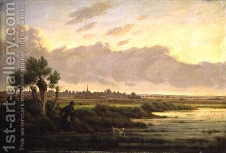 On the Alster at Winterhude, 1834 by Heinrich Stuhlmann - Reproduction Oil Painting