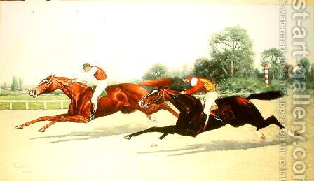 The Winning Post in Sight by Henry Stull - Reproduction Oil Painting