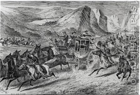 The Attack on the Deadwood Coach in Buffalo Bills Wild West, engraved by Joseph Swain 1820-1909 1887 by (after) Sturgess, John - Reproduction Oil Painting