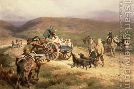 Grouse Shooting on the Glentanar Estate in Aberdeenshire, 1889 by Carl Suhrlandt - Reproduction Oil Painting