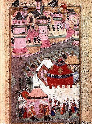 TSM H.1524 Siege of Vienna by Suleyman I 1494-1566 the Magnificent, in 1529, from the Hunername by Lokman, 1588 by I the Magnificent Suleyman - Reproduction Oil Painting